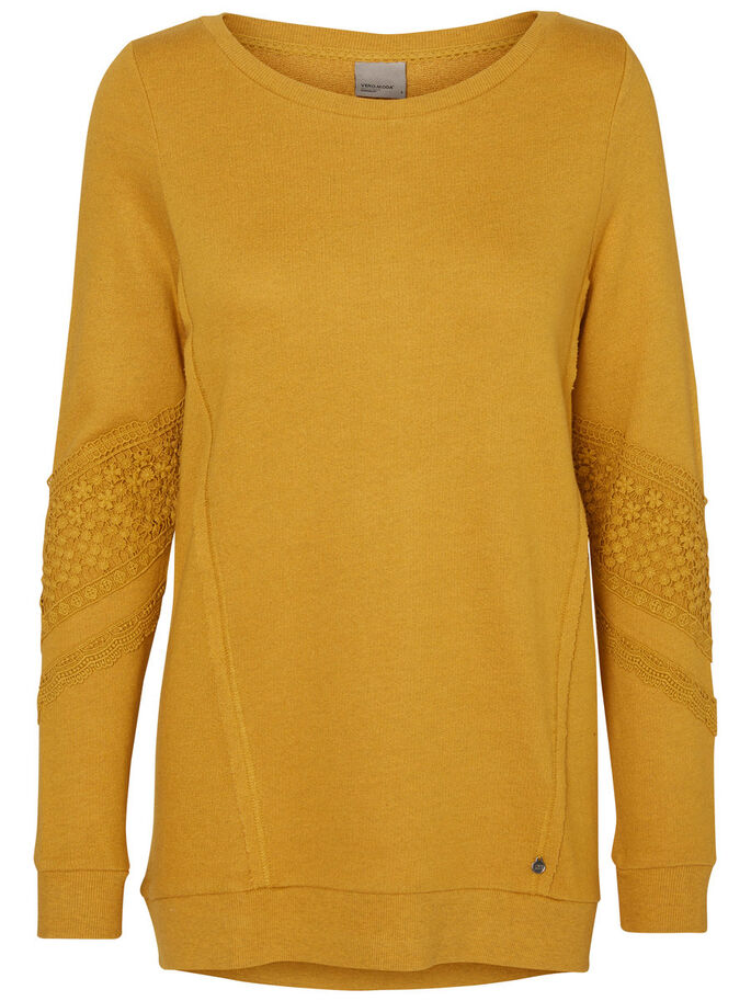 LONG SLEEVED SWEATSHIRT, Harvest Gold, large