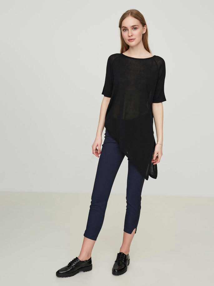 ASYMMETRISK BLUSE MED 2/4 ERMER, Black Beauty, large