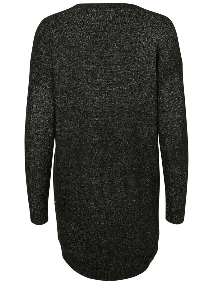 LONG SLEEVED KNITTED PULLOVER, Black, large