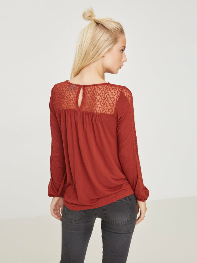 LACE LONG SLEEVED BLOUSE, Fired Brick, large