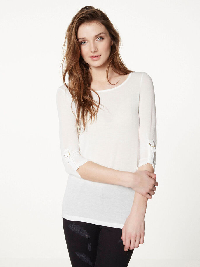 JERSEY 3/4 SLEEVED BLOUSE, Snow White, large