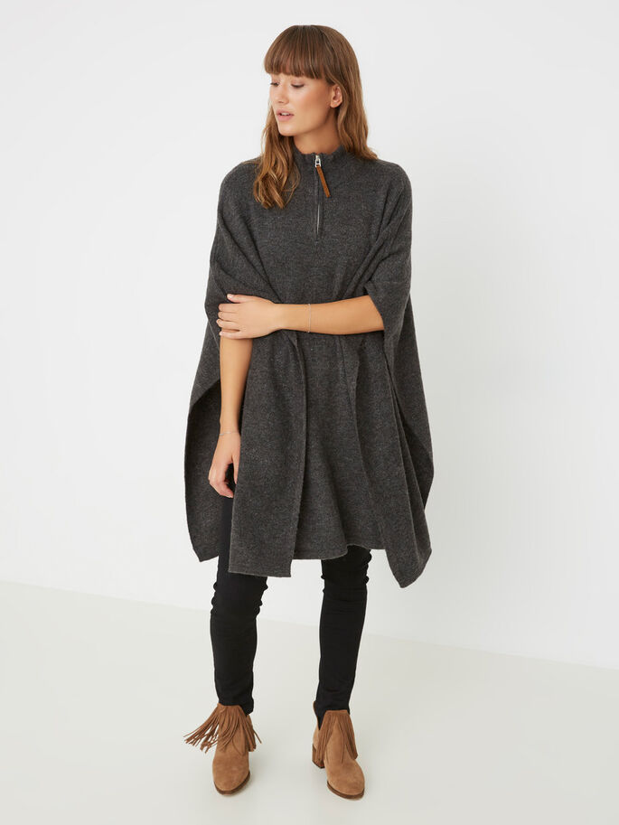 KNITTED PONCHO, Dark Grey Melange, large