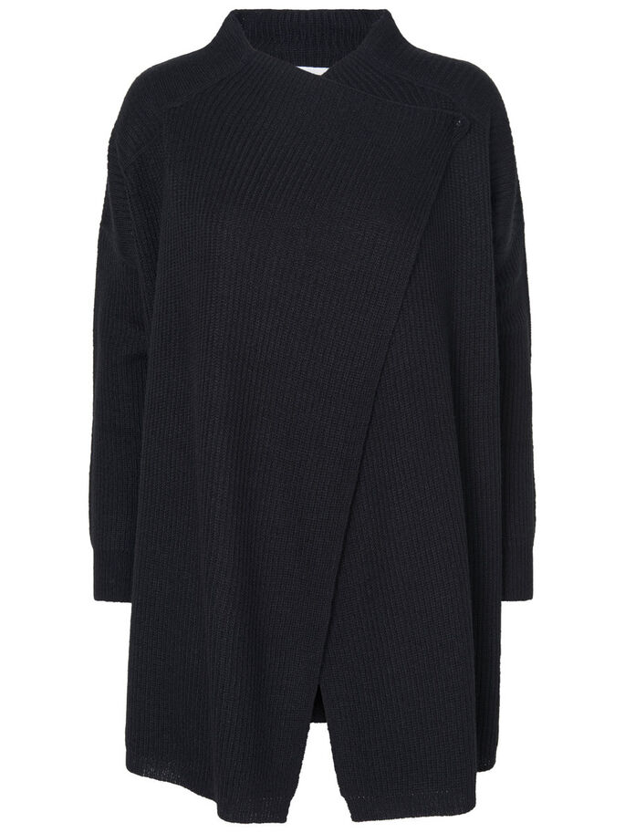 LONG SLEEVED KNITTED CARDIGAN, Black, large