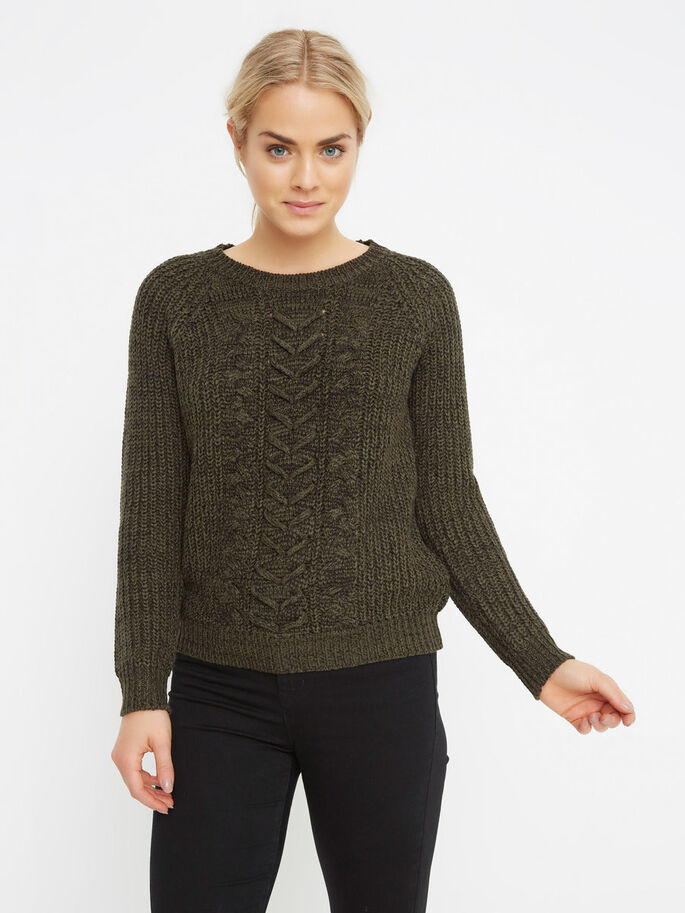 MANCHES LONGUES PULL EN MAILLE, Peat, large