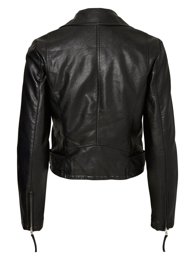 LEATHER-LOOK JACKET, Black, large