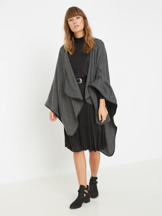 GEBREID PONCHO, Dark Grey Melange, large