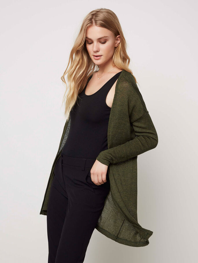 LONG CARDIGAN, Kombu Green, large