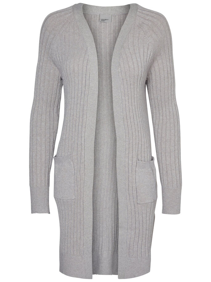 LANG STRIKKET CARDIGAN, Light Grey Melange, large