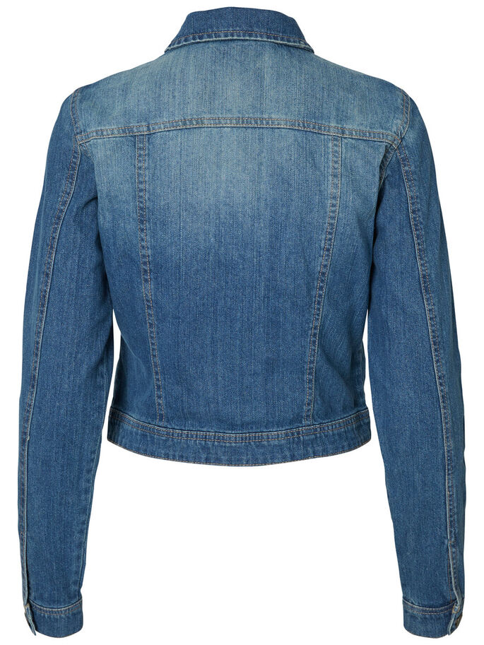 LONG SLEEVED DENIM JACKET, Medium Blue Denim, large