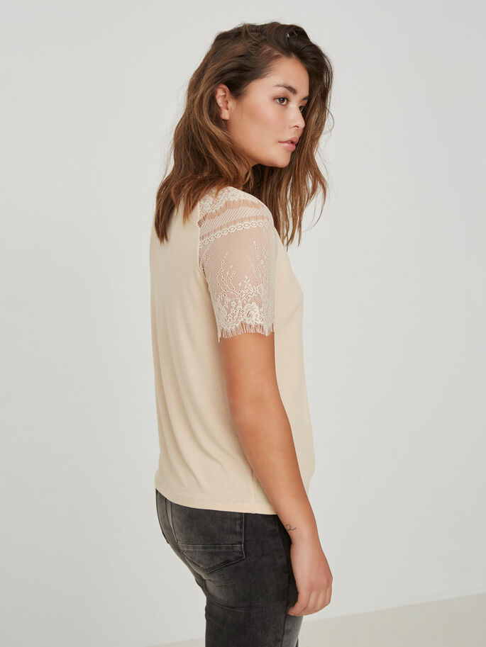 LACE SHORT SLEEVED TOP, Ivory Cream, large