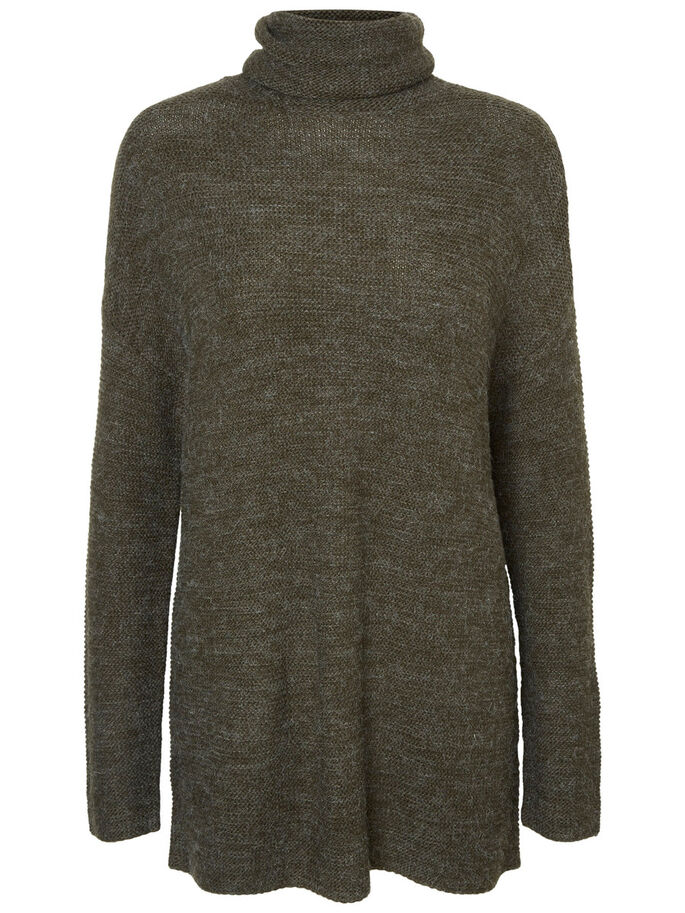 TURTLENECK KNITTED PULLOVER, Peat, large