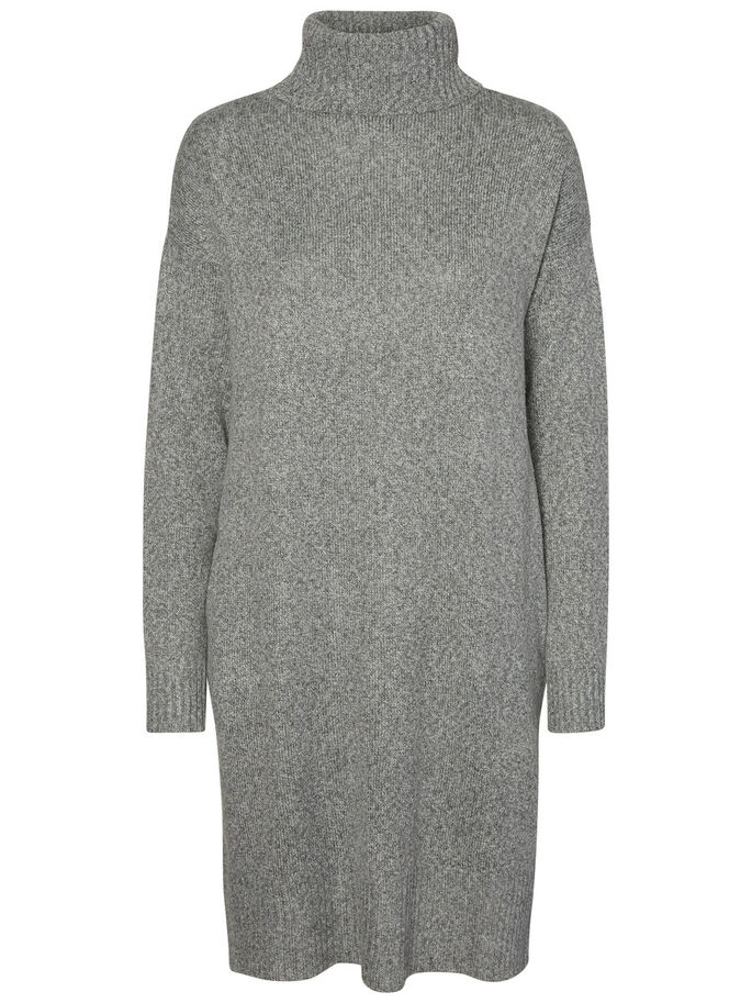 KNITTED LONG SLEEVED DRESS, Medium Grey Melange, large