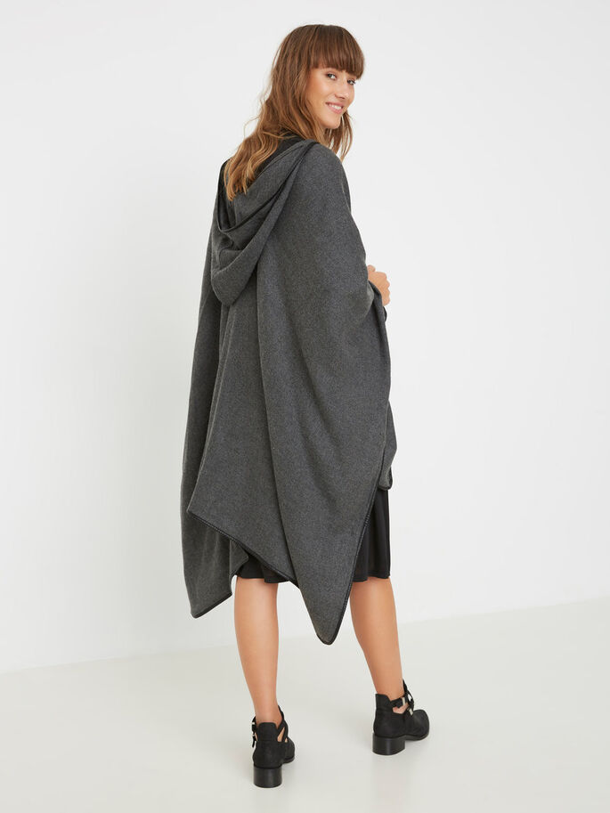 MAILLE PONCHO, Dark Grey Melange, large