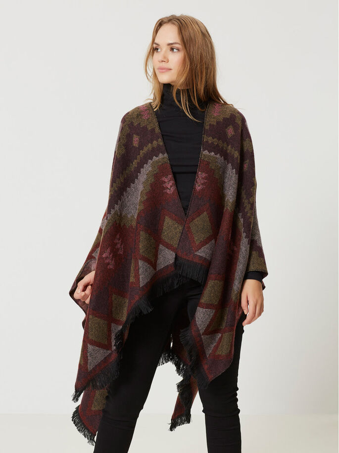 KNITTED PONCHO, Decadent Chocolate, large