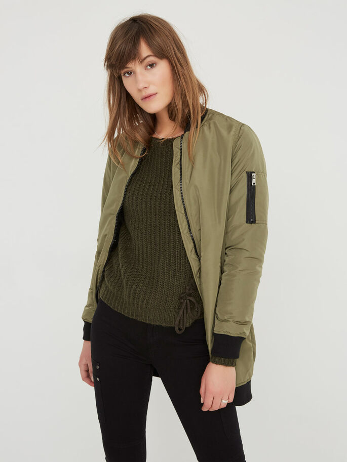 LONG BOMBER JACKET, Ivy Green, large