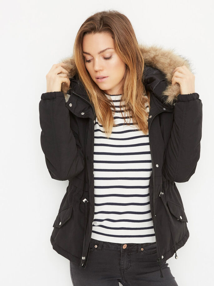 SHORT PARKA COAT, Black, large