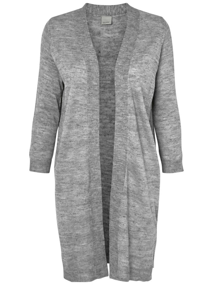 STRIKKET CARDIGAN, Light Grey Melange, large