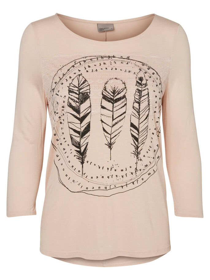 CASUAL 3/4 SLEEVED TOP, Rose Dust, large