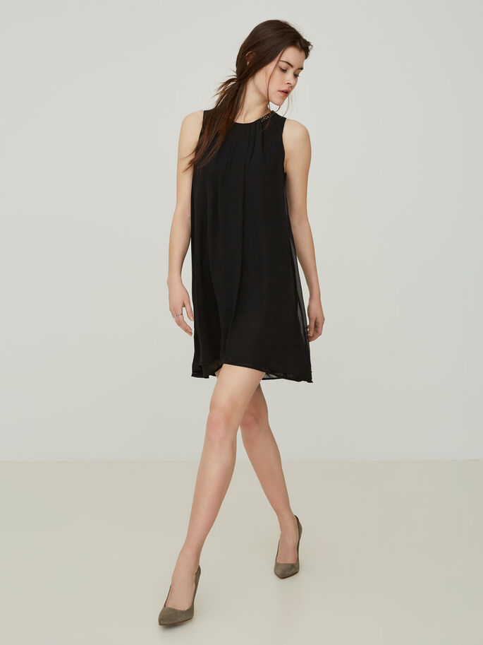 DETAILED SLEEVELESS DRESS, Black, large