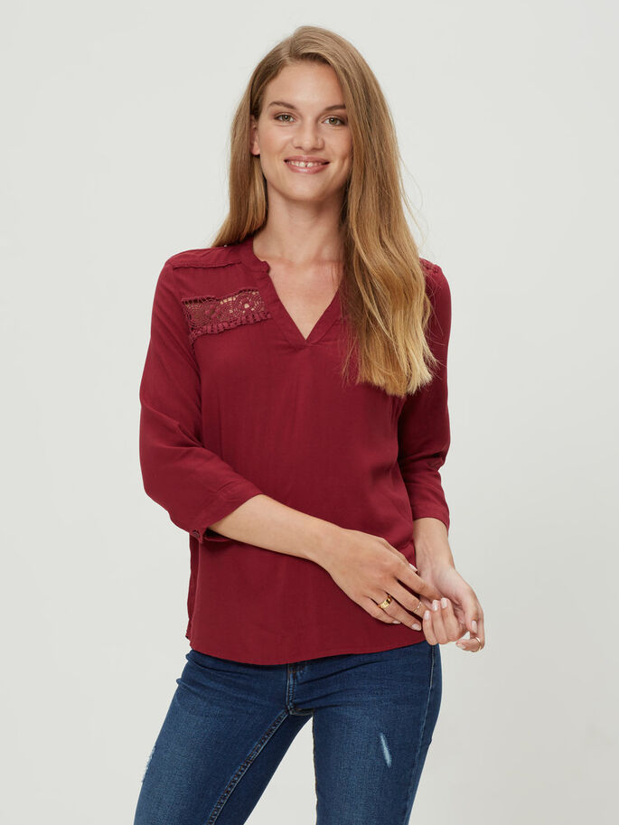 LACED 3/4 SLEEVED BLOUSE, Rhododendron, large