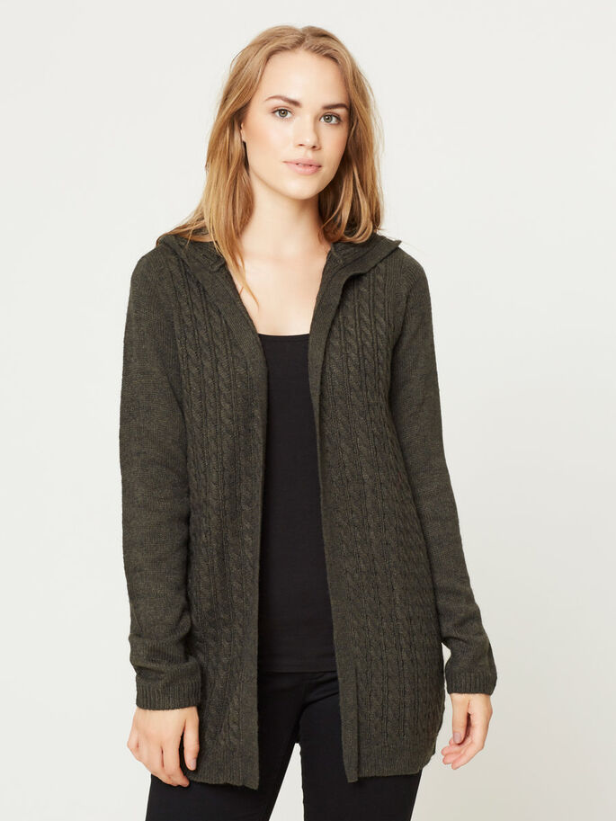 HOODED CARDIGAN, Peat, large