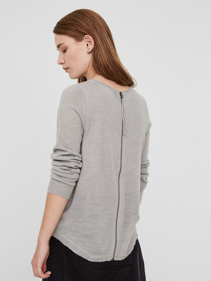 LANGÆRMET STRIKKET PULLOVER, Light Grey Melange, large