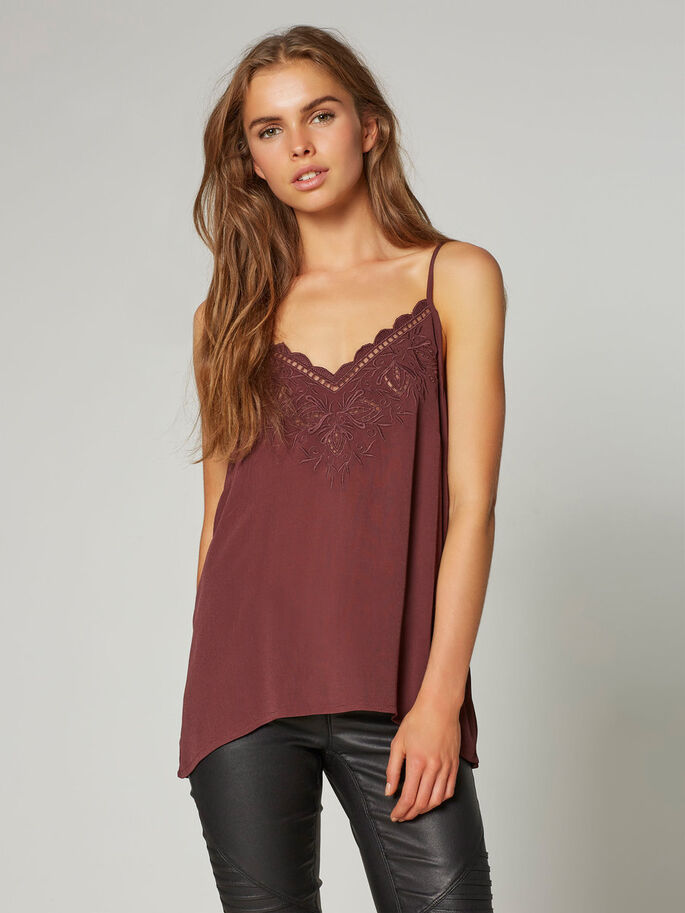 LACE SINGLET, Decadent Chocolate, large