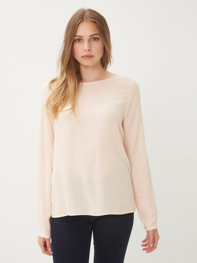 FEMININ LANGERMET BLUSE, Cream Tan, large