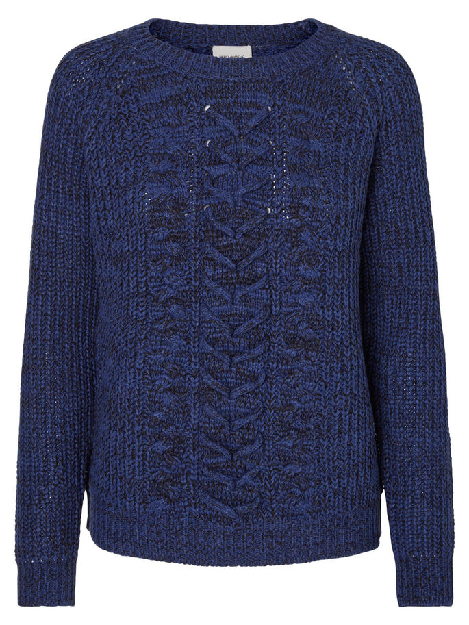 LANGÆRMET STRIKKET PULLOVER, Twilight Blue, large