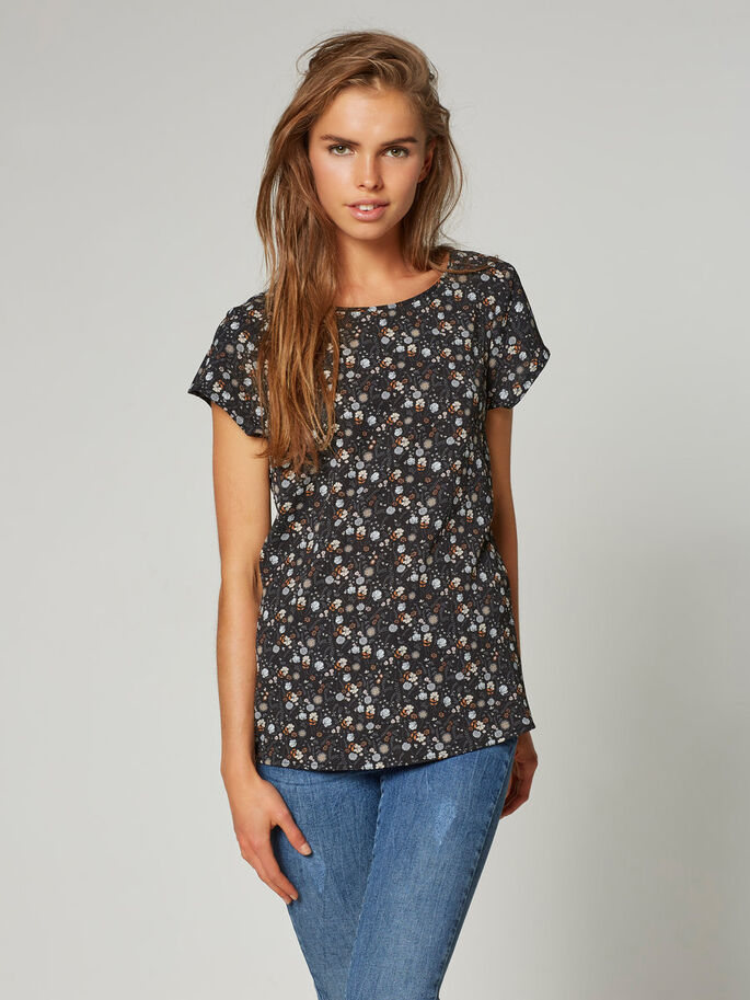 CASUAL TOP MED KORTE ÆRMER, Black, large