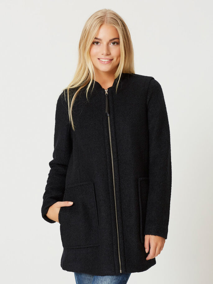 WOLL- JACKE, Black, large