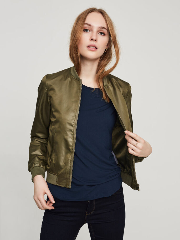 SHINY BOMBER JAS, Ivy Green, large