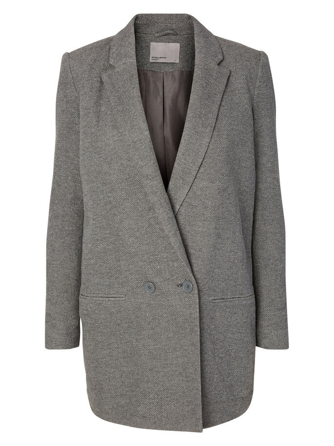 LONG BLAZER, Dark Grey Melange, large