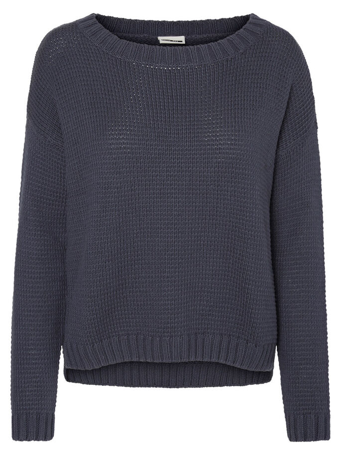 CASUAL KNITTED PULLOVER, Ombre Blue, large