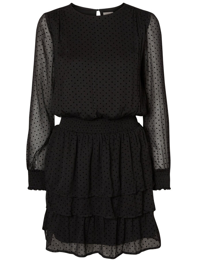 DOTTED LONG SLEEVED DRESS, Black, large