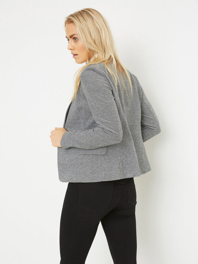 LONG SLEEVED BLAZER, Dark Grey Melange, large