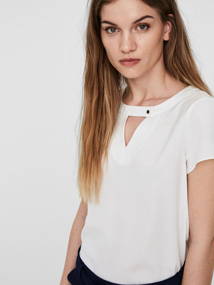 VISCOSE SHORT SLEEVED TOP, Snow White, large