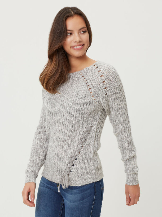 LONG SLEEVED KNITTED PULLOVER, Ash, large