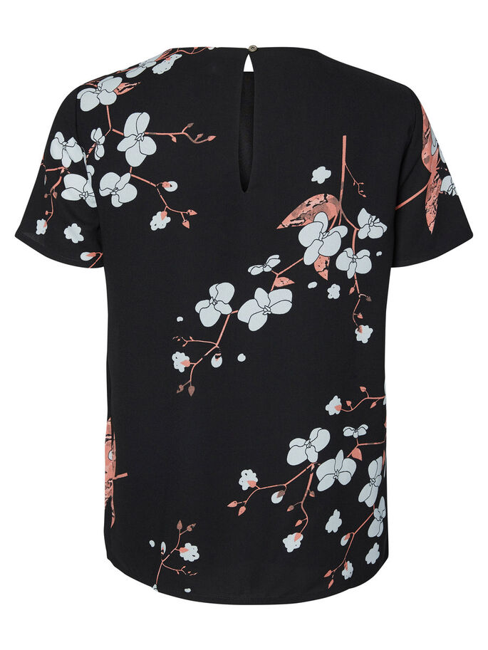 BLOEMENPRINT TOP MET KORTE MOUWEN, Black, large