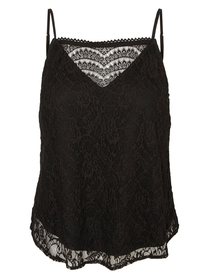 LACE SINGLET, Black, large