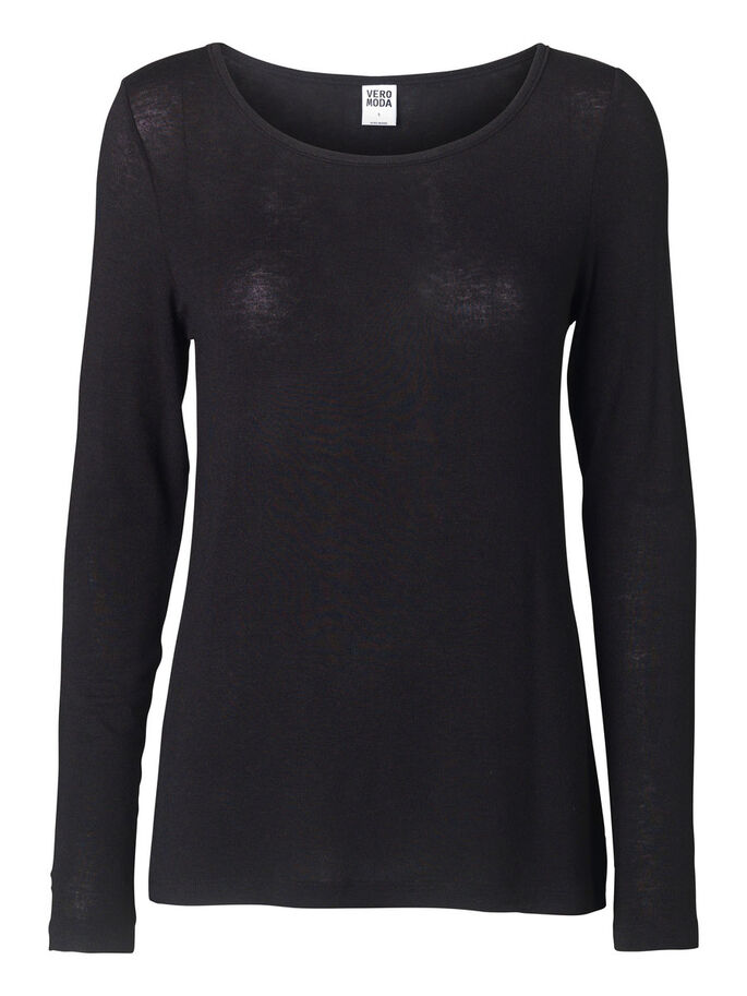 KNITTED LONG SLEEVED BLOUSE, Black, large