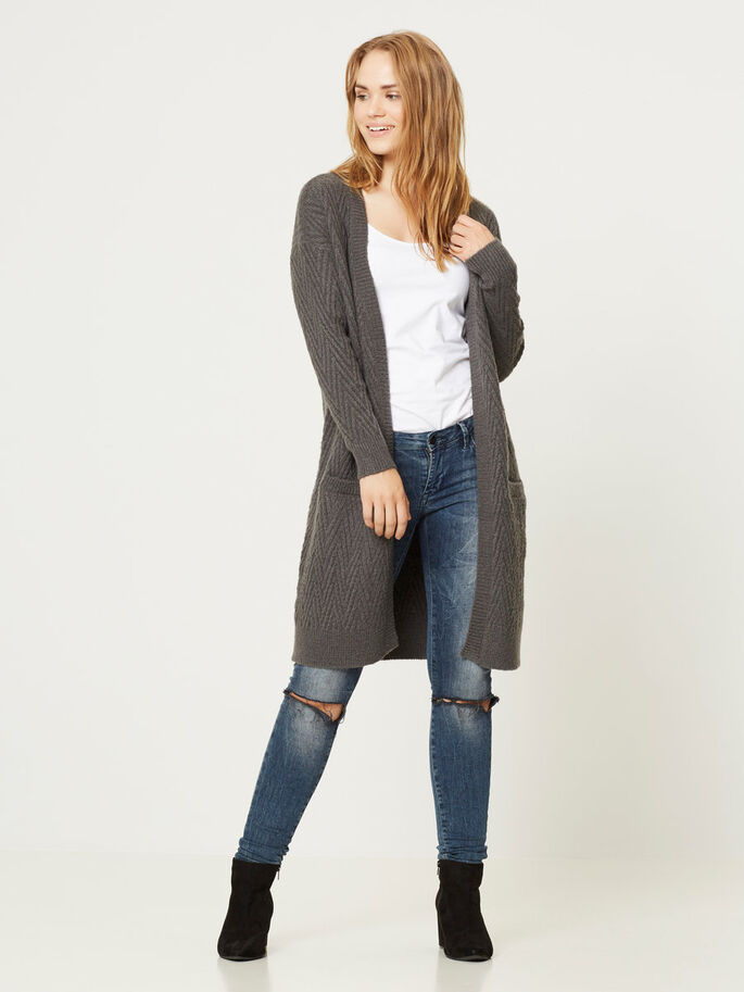 LONG KNITTED CARDIGAN, Dark Grey Melange, large