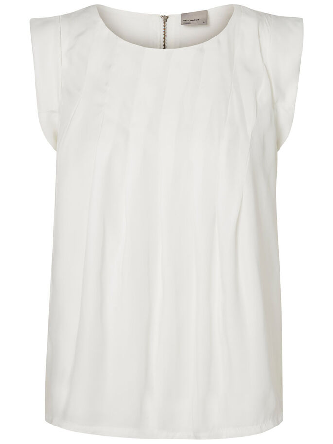 PLEATED SLEEVELESS BLOUSE, Snow White, large