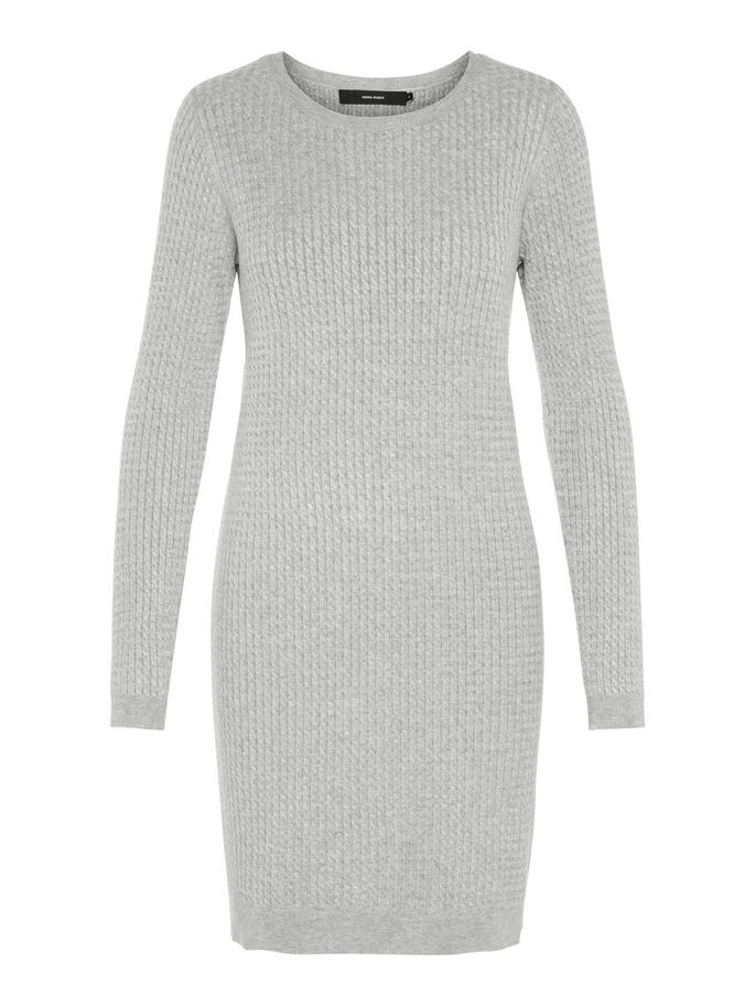 KNITTED LONG SLEEVED DRESS, Light Grey Melange, large
