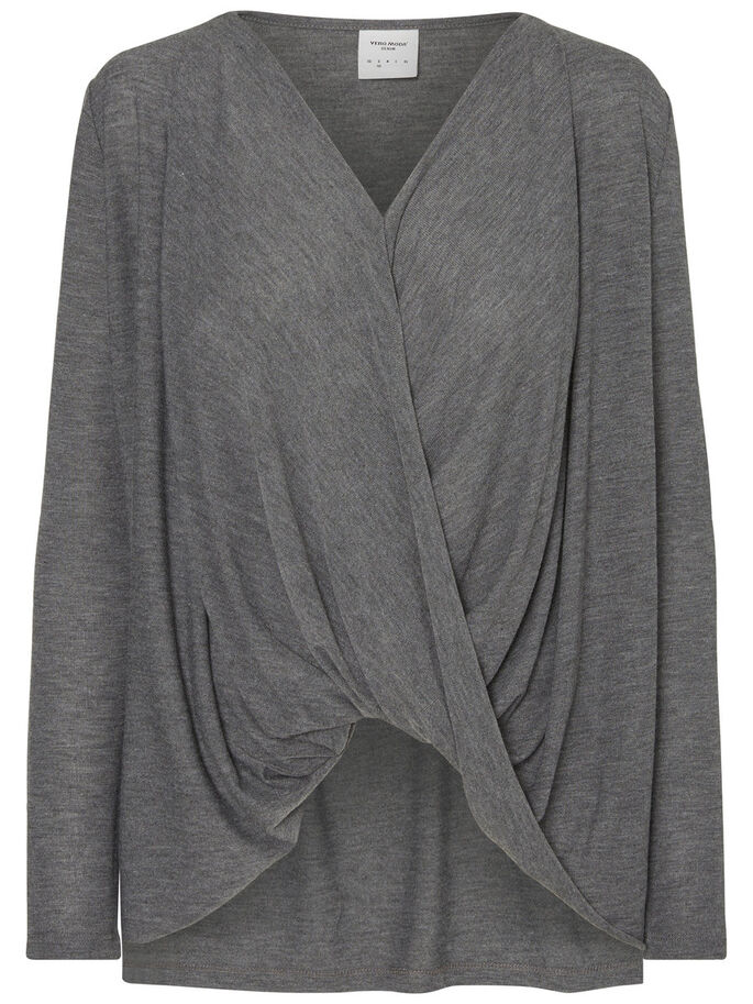 LOOSE FIT LONG SLEEVED BLOUSE, Medium Grey Melange, large