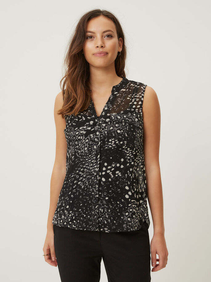 SLEEVELESS SHIRT, Black, large