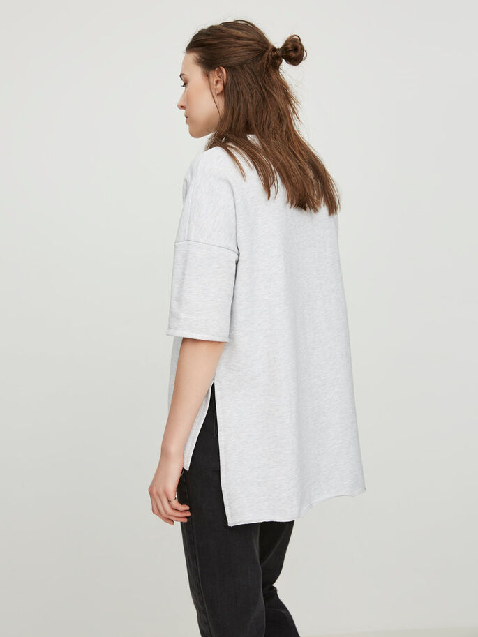 MANCHES COURTES SWEAT-SHIRT, Light Grey Melange, large