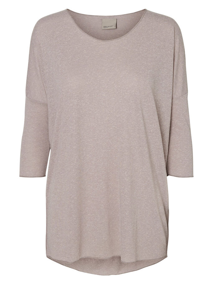 OVERSIZE FIT BLUS MED 2/4-ÄRMAR, Light Grey Melange, large
