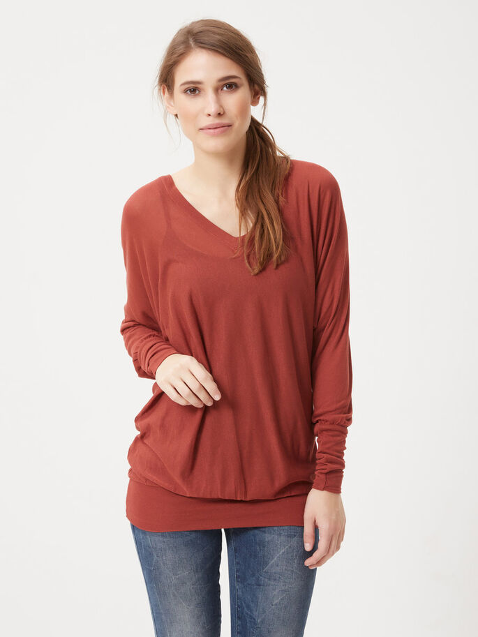 DETAILED LONG SLEEVED TOP, Henna, large