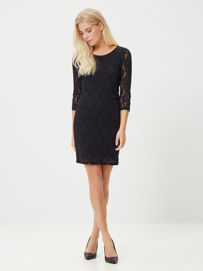 LACE 3/4 SLEEVED SHORT DRESS, Black, large